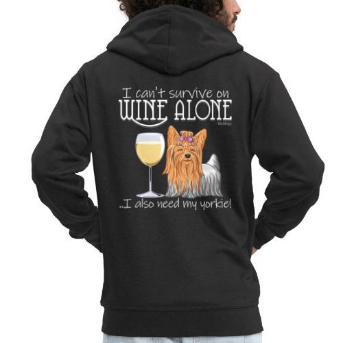 Wine Alone Yorkie - Miesten premium vetoketjullinen huppari