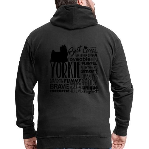 Yorkshire Terrier Words B2 - Miesten premium vetoketjullinen huppari