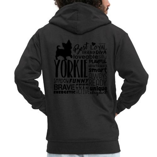 Yorkshire Terrier Words B - Miesten premium vetoketjullinen huppari
