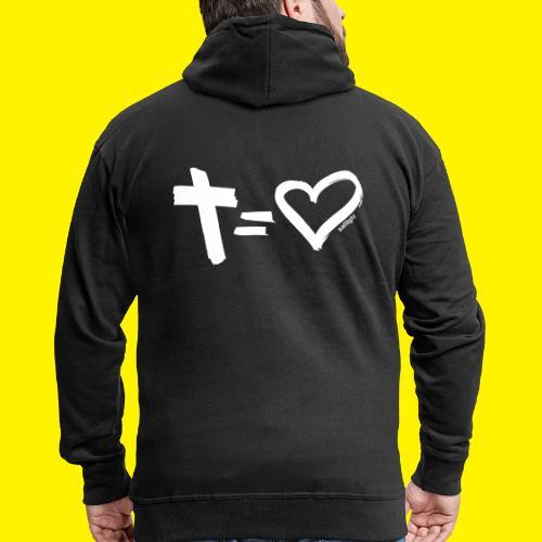 Cross = Heart WHITE // Cross = Love WHITE - Men's Premium Hooded Jacket