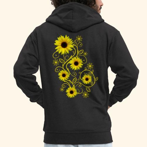 gelbe Sonnenblumen, Ornamente, Sonnenblume, Blumen - Männer Premium Kapuzenjacke