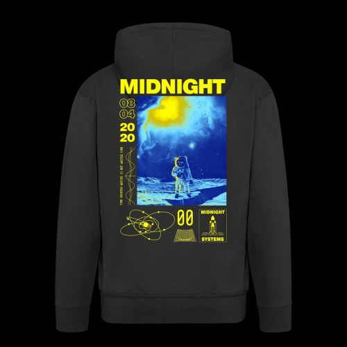 Midnight Astronaut Electric Yellow - Men's Premium Hooded Jacket