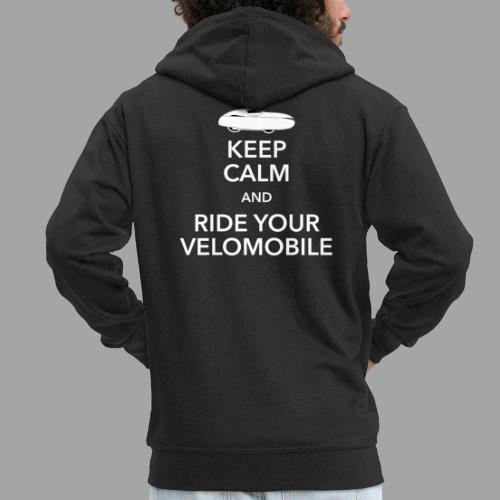 Keep calm and ride your velomobile white - Miesten premium vetoketjullinen huppari
