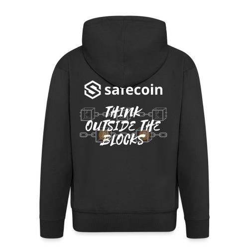 Safecoin Think Outside the Blocks (white) - Men's Premium Hooded Jacket