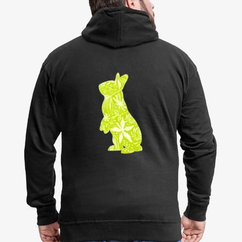 Flower Bunny Lime - Miesten premium vetoketjullinen huppari