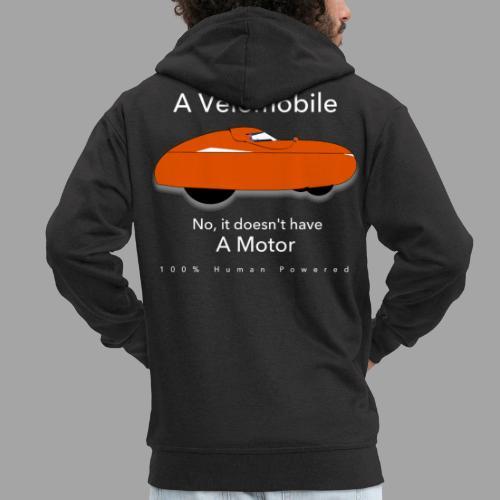 it's a velomobile white text - Miesten premium vetoketjullinen huppari
