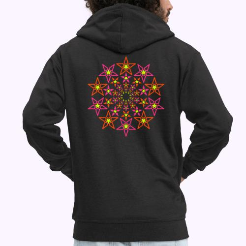 fractal star 3 color neon - Men's Premium Hooded Jacket