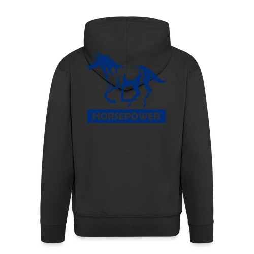 Galoppierendes Pferd Horsepower (Blau) - Männer Premium Kapuzenjacke