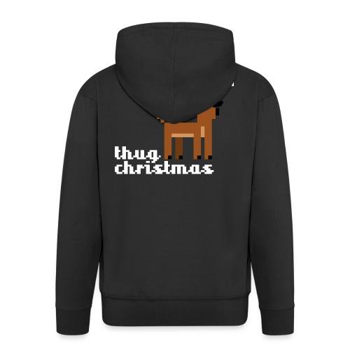 Christmas Xmas Deer Pixel Funny - Men's Premium Hooded Jacket