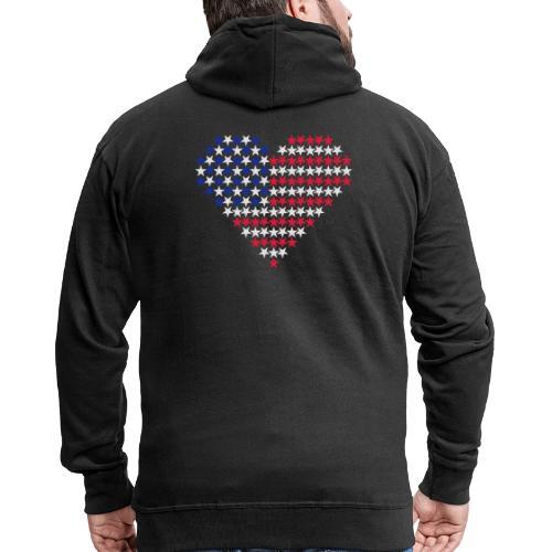 Herz Flagge USA - Männer Premium Kapuzenjacke
