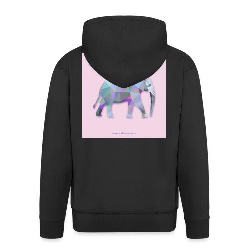 Elefante Intero triangoli - Felpa con zip Premium da uomo