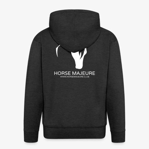 Horse Majeure Logo / Valkoinen - Miesten premium vetoketjullinen huppari