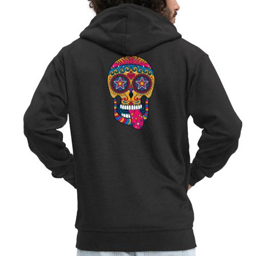 Mexican Skull - Felpa con zip Premium da uomo