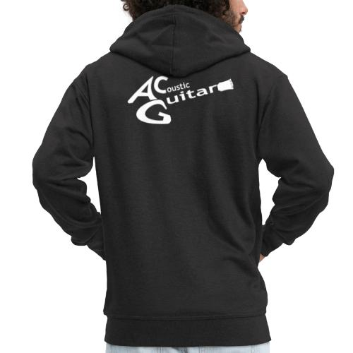 Acoustic Guitar Logo - White - Men's Premium Hooded Jacket