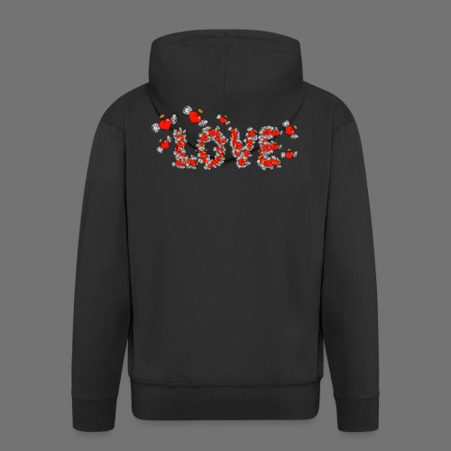 Flying Hearts LOVE - Miesten premium vetoketjullinen huppari