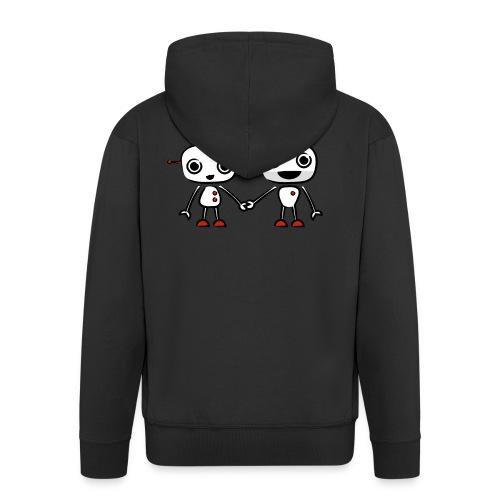 binary love red heart - Men's Premium Hooded Jacket