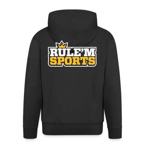 rulem sports vector white outline - Men's Premium Hooded Jacket