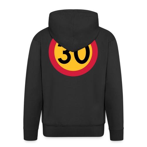 30 kph Road Sign Vector Design - Men's Premium Hooded Jacket