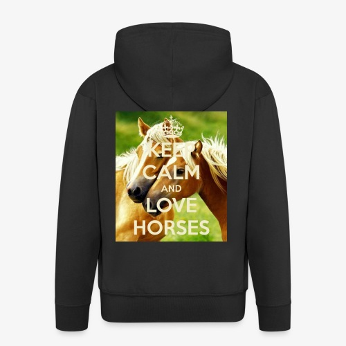 Keep Calm and love horses - Mannenjack Premium met capuchon