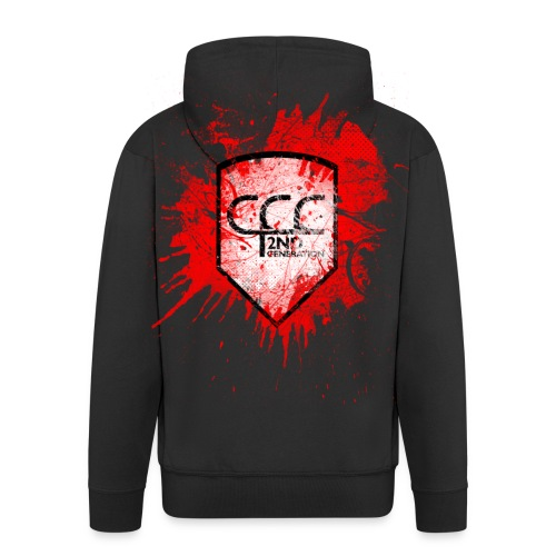 CCC Wappen grunged black red 2 - Männer Premium Kapuzenjacke
