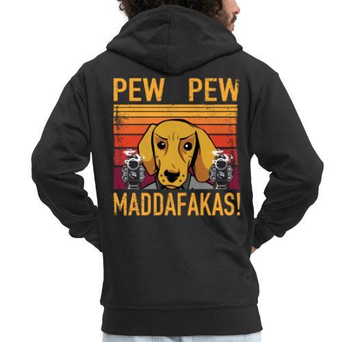 PEW PEW Maddafakas! Dackel Hund Vintage funny - Männer Premium Kapuzenjacke