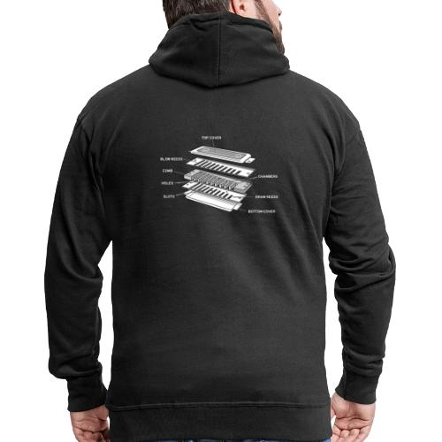 Exploded harmonica - white text - Men's Premium Hooded Jacket