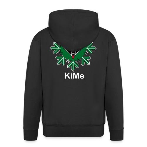 KiMe-logotuotteet valkoisella tekstilla - Miesten premium vetoketjullinen huppari
