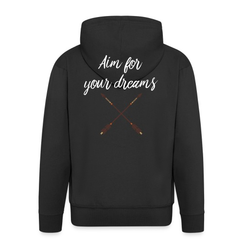 Aim for your Dreams white - Miesten premium vetoketjullinen huppari