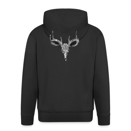Deer skull with rose - Miesten premium vetoketjullinen huppari