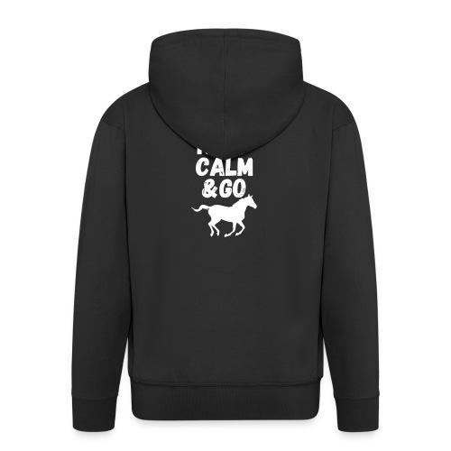 Keep Calm & Go Riding Pferde Reitsport Hoodie - Männer Premium Kapuzenjacke