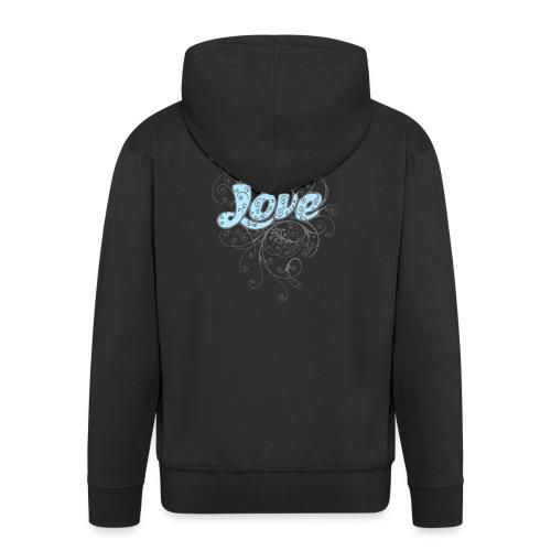 LOVE CON DECORI - Felpa con zip Premium da uomo