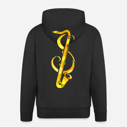 Goldenes Saxophone mit Notenschlüssel - Männer Premium Kapuzenjacke