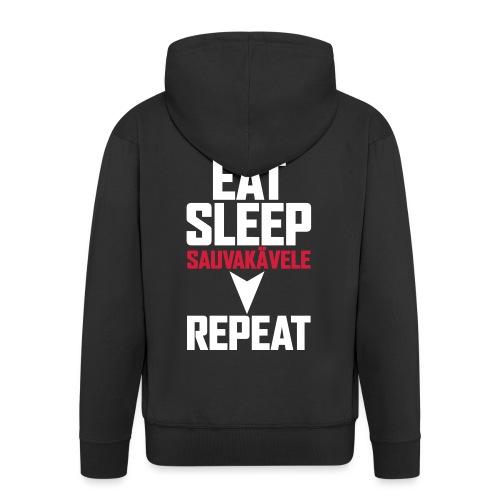 Eat, sleep, sauvakävele, repeat - Miesten premium vetoketjullinen huppari