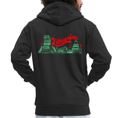 0322 Stack of books Librarian bookshelf - Men's Premium Hooded Jacket