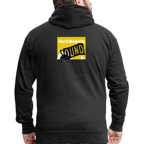 I am a woman in sound - yellow - Men's Premium Hooded Jacket