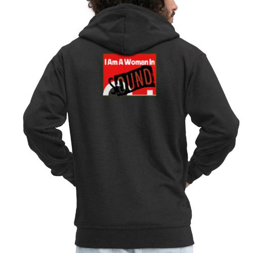 I am a woman in sound - red - Men's Premium Hooded Jacket