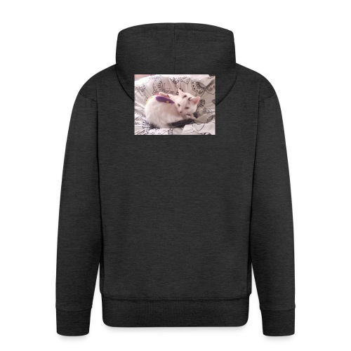 CAT SURROUNDED BY MICE AND BUTTERFLIES. - Men's Premium Hooded Jacket