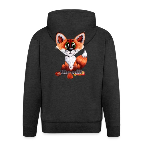 llwynogyn - a little red fox - Miesten premium vetoketjullinen huppari