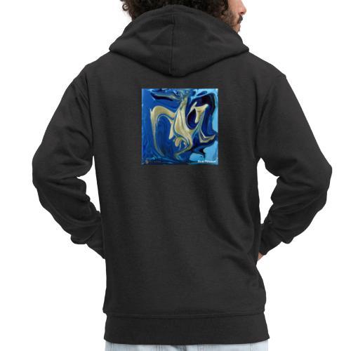 TIAN GREEN Welt Mosaik - AT042 Blue Passion - Männer Premium Kapuzenjacke