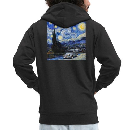 Notte stellata Van Gogh Citroen 2cv furgonette - Felpa con zip Premium da uomo
