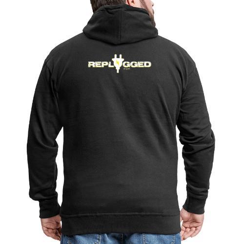 Replugged - Clip Art White - Men's Premium Hooded Jacket