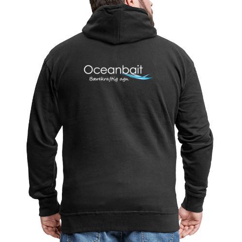 Oceanbait, hvit tekst - Premium Hettejakke for menn
