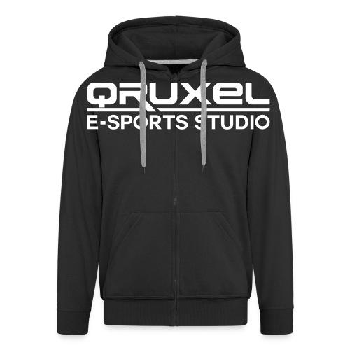 qruxelesportslogo white - Men's Premium Hooded Jacket