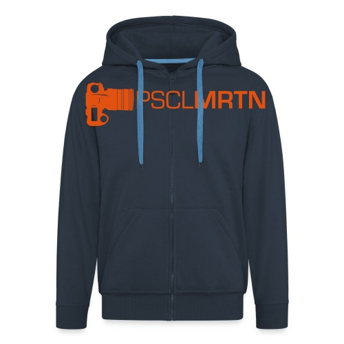 Black on Black with Orange Neck - Männer Premium Kapuzenjacke