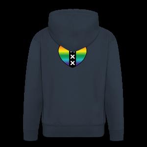 Hart Amsterdam in regenboog kleuren - Mannenjack Premium met capuchon