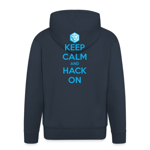 keep calm and hack on - Felpa con zip Premium da uomo