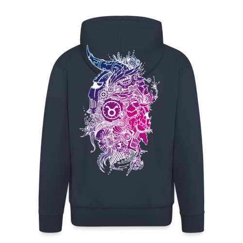 Taurus Skull Zodiac Sign - Men's Premium Hooded Jacket