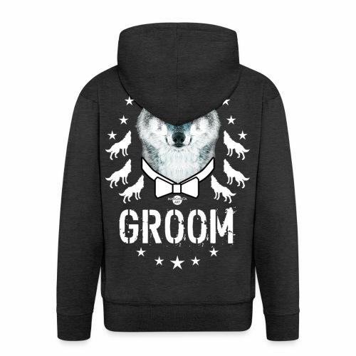 161 Wolf JGA GROOM Wolfpack Sterne - Männer Premium Kapuzenjacke