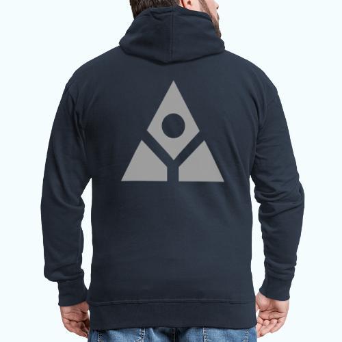 Sacred geometry gray pyramid circle in balance - Men's Premium Hooded Jacket
