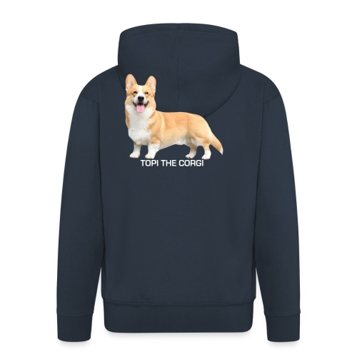 Topi the Corgi - White text - Men's Premium Hooded Jacket